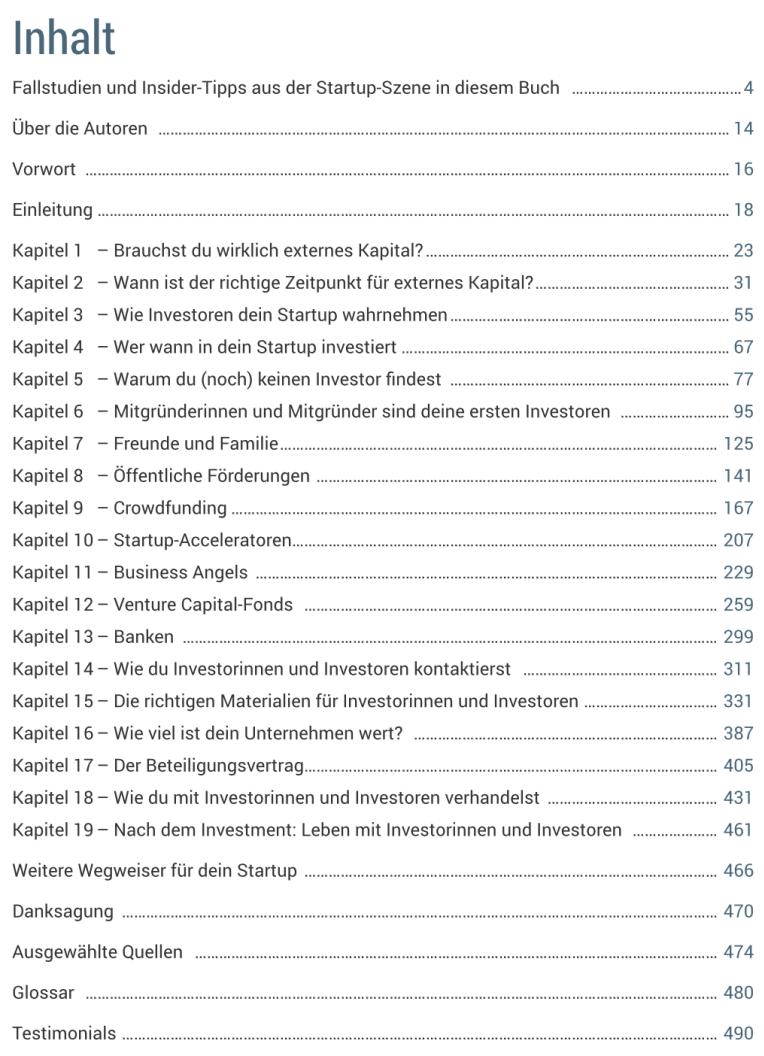 Startup Finanzierung - Inhalte - Inhaltsverzeichnis